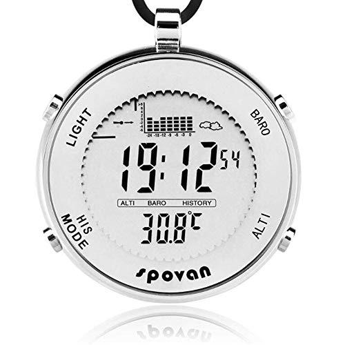AYBBWLB Spovan Outdoor Wasserdicht-Digital-Fischerei-Barometer-Taschen-Uhr Geeignet für Klettern Laufen Angelwettbewerb und andere Sportarten
