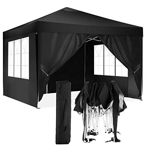 HOTEEL Carpa Plegable 3x3m Carpas y Cenadores Impermeable Cenador de Jardín Protección UV con 4 Paneles Laterales para Eventos al Aire Libre (3x3m con 4 Paneles Laterales, Negro)