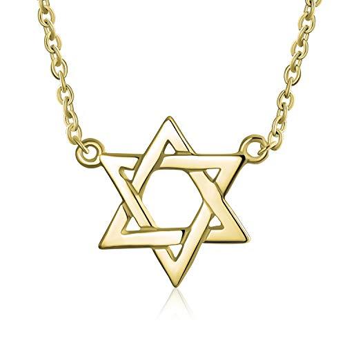 Delicada entrelazada Magen judío Hanukkah Menorah estrella de David colgante estación collar para las mujeres adolescentes 14K oro amarillo chapado 925 plata de ley