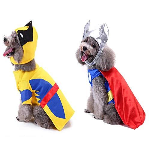 YCHCH Halloweenkostuum voor honden, Wolverine Raytheon hondenmantel voor honden, kleding voor huisdieren, kostuums voor honden, 2 sets