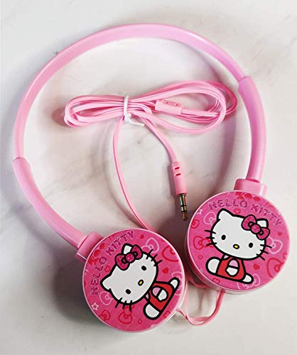Bingo Hello Kitty Kids Wire Headphone 3.5mm Jack Foldable Adjustable On-Ear Headphones for Kids, Compatible with Mobile Tablet Headphone for Girls Boys Men Women Baby Handset (Pink)
