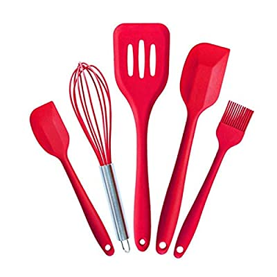 Silicone Spatula Heat-resistant Silicone Set Kitchen Utensils Spatula Spatula Whisk Clip Non-stick Cooking, Baking and Mixing – 5-piece Kitchen All-in-one Ergonomic Tool Set Bring Fun to Your Kitchen