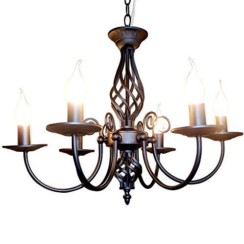 Retro Deckenbeleuchtung Anhänger Vintage Deckenlampe Kronleuchter Antik 5 Flammen LED Energiesparkerze Retro Wohnzimmer