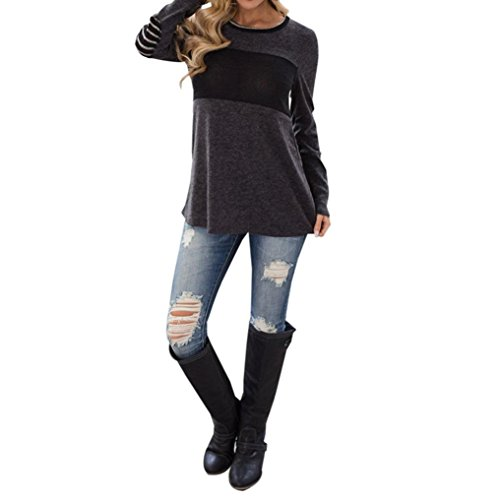 Women Tops, Gillberry Womens Cotton Long Sleeve Round Neck Splice Shirt Blouse Tops T Shirts (Gray, L)