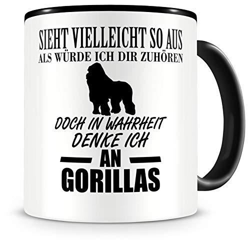 Samunshi® Ich denke an Gorillas Tiere Tasse Kaffeetasse Teetasse Kaffeepott Kaffeebecher Becher