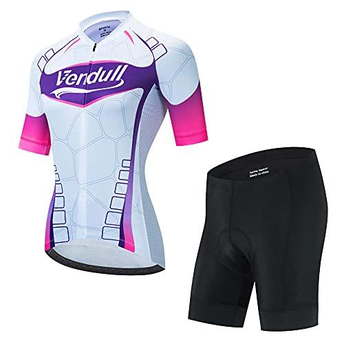 HXTSWGS Kit de Manga Corta Jersey de Ciclo Bici del Camino para Mujer,Jersey de Bicicletas de montaña,Conjunto Ropa Al Aire Libre Transpiración para La Bicicleta-A06_XXXL