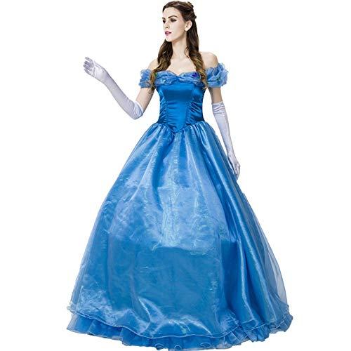 Enchanting Fluffy Aschenputtel Prinzessin verkleiden Kostüm für Erwachsene Frauen, Disney-Fee-Party Grwns für Halloween Weihnachten Geburtstags-Thema-Partei Cosplay,Blau,XL
