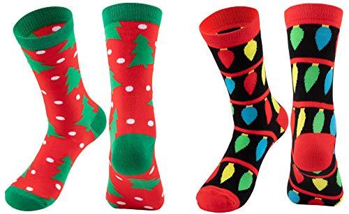 Christmas Socks - 2-Pair Holiday Tree and Lights Crew Socks, For Unisex Adults
