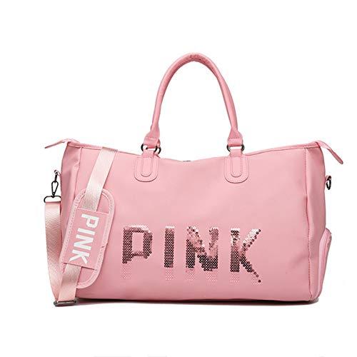 NEHARO Viajes Duffel Tote Bag Gran Capacidad Moda Deportes de Yoga Zapato de Zapatos Mano Bolsa de Equipaje Bolsa de Viaje de Lentejuelas para Hombre y Mujer (Color : Pink, Size : 53x32x25cm)
