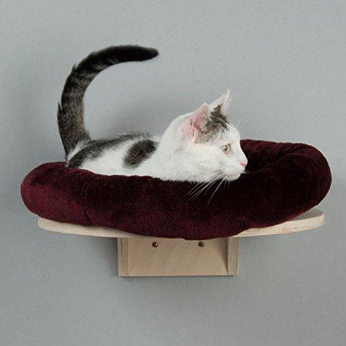 Natural Paradise Cama de gato montada en la pared con cojín redondo de felpa (Borgoña)