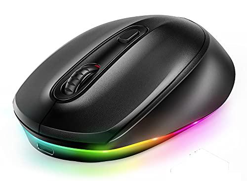 seenda Bluetooth Maus, Funkmaus für Laptop, LED Wireless Mouse, Kabellose Aufladbare 3 Modi Computermaus (BT3.0+BT5.0+2.4G), 2400 DPI Kompatibel mit iPad/iPhone/PC/Tablet/Mac/IOS/Android(Schwarz)