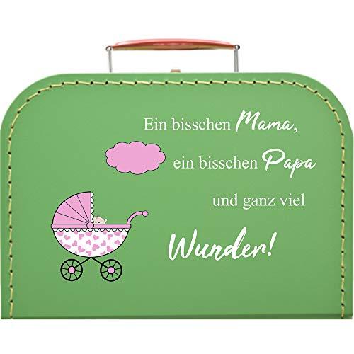 Pappkoffer zur Geburt, Kinderwagen & Spruch Koffergröße 30 x 20,5 x 9 cm, Farbe hellgrün