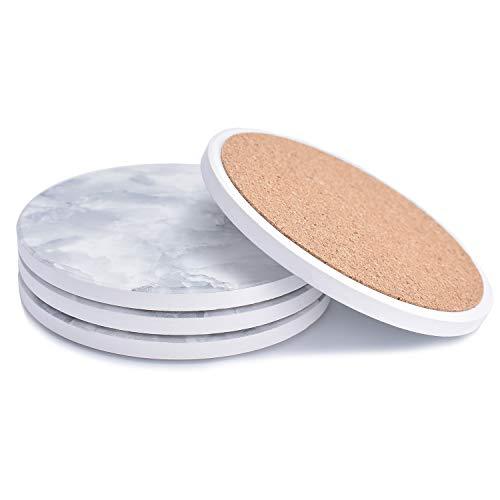MGUP コースター 濡れないコースター 断熱 吸水速乾 調湿 保護コルク裏面 簡約美観のスタイル 大理石 贈り物 円型 4枚