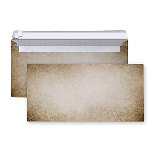 25 Stück Briefumschläge Umschläge VINTAGE altes Papier marmoriert braun beige Nostalgie creme-farben DIN Lang 22 x 11 cm Briefkuvert mit Haftklebestreifen rustikal antik