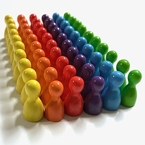 Spielfiguren aus Holz für Brettspiele, Bunte Mischung, besondere Farben, Halmakegel Gr. 12/24 mm, 60 Stück (6x10) (Regenbogen: Gelb, Orange, Rot, Gelbgrün, Mittelblau, Blaulila)
