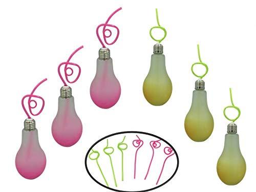 ML Pack de 6 Vasos de Cristal con Forma de Bombillas con Cierre de Rosca y Pajita de plástico. Capacidad 350ml + Amarillo/Rosa
