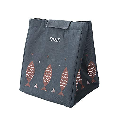 Westeng Bolsa de Portátil de Almuerzo Kawaii Patrón de Peces Bolsa de Picnic Tela Oxford Bolsa del Almuerzo Portátil Reutilizables para los Hombres Las Mujeres Size 23.5 * 20 * 17cm (Gris)