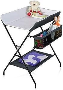 HONEY JOY Baby Changing Table, Folding Diaper Station Nursery Organizer for Infant (Gray)