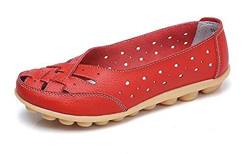 Gaatpot Damen Mokassin Lederschuhe Bootsschuhe Leicht Loafers Flache Fahren Schuhe Sommer Slippers Halbschuhe Rot 41.5EU=43CN