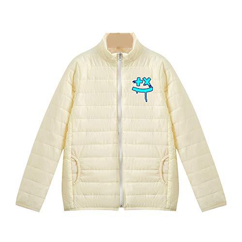 BBMB Daunenjacke Light Fit * Marshmello Blue Graffiti Maske * Bedruckt Fashion Damen Warm Jacke Stehkragen Langarm Daunenjacke Solid Color Trend Herbst und Winter Warm und Winddicht Gr. One size, weiß