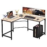 L Mesa Escritorio de Computadora, Mesa Ordenador Gran Escritorio de Esquina Moderna L Escritorio para Oficina (Beige)