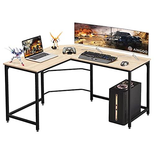 Aingoo L Mesa Escritorio de Computadora, Mesa Ordenador Gran Escritorio de Esquina Moderna L Escritorio para Oficina (Beige)
