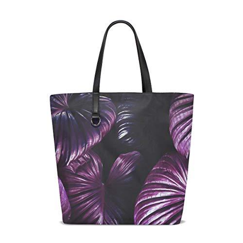NaiiaN Einkaufstasche Stadt für Frauen Mädchen Damen Student Leichter Riemen Geldbörse Einkaufstaschen Lila Pflanze Dunkel Coole Umhängetaschen