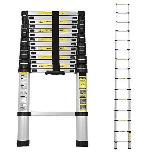 wollketon 4.4M Alu Teleskopleiter, Multifunktionsleiter Schiebeleiter aus hochwertigem, Maximale Tragkraft von 150kg, für Garten Heim Werken Außenbereich