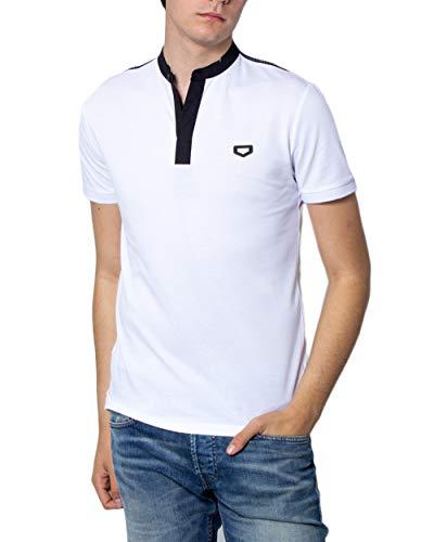 Antony Morato T-Shirt Herren collo coreano,spacchetti al Fondo,Tape su spalle mmks01698-fa100083 l Weiss