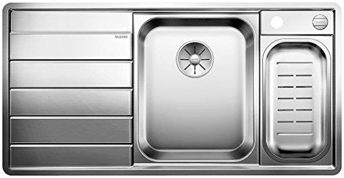 BLANCO AXIS III 6 S-IF Dampfgar-Edition, Küchenspüle, Becken rechts, mit Schneidbrett, Schale, Carrier, InFino-Ablaufsystem und Ablauffernbedienung, Edelstahl Seidenglanz; 522108