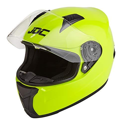 JDC volles Gesicht Motorrad Helm - PRISM - Fluoreszierendes Gelb - XL