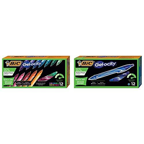 BIC Gel-Ocity Quick Dry Gel Pens, Medium Point Retractable Gel Pen (0.7mm), Assorted Colors, 12-Count & Gel-Ocity Quick Dry Gel Pens, Medium Point Retractable (0.7mm), Blue Ink Gel Pen, 12-Count