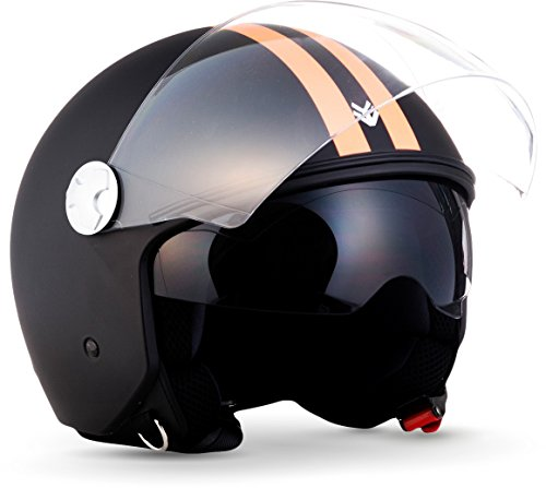 "ARMOR HELMETS® AV-63 ""Fun Matt Black"" · Jet-Helm · Motorrad-Helm Roller-Helm Scooter-Helm Moped Mofa-Helm Chopper Retro Vespa · ECE 22.05 Sonnenvisier Schnellverschluss Tasche M (57-58cm)"