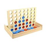 TOYANDONA Conecte tablero de juego cuatro en una fila de juego de madera Classic Checker 4 en una fila al aire libre, juego familiar, juguete educativo para niños regalo