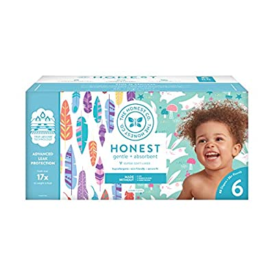 The Honest Company Super Club Box Diapers with TrueAbsorb Technology, Painted Feathers & Bunnies, Size 6, 88 Count