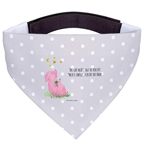 Mr. & Mrs. Panda Tuch, kleine Hunde, Hundehalstuch S Glücksschwein mit Spruch - Farbe Grau Pastell