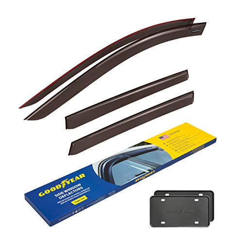 Goodyear Side Window Deflectors for Hyundai Santa Fe 2019-2021, Tape-on Rain Guards, Window Visors for Cars, Vent Deflector, Vent Visor, Car Accessories, 4 pcs- GY003132LP