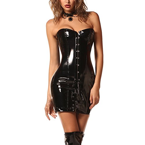 Wonder Pretty Damen Schwarz Korsett Kleid Steampunk Sexy GothicWetlook PVC Leder Vollbrust Lang Corsage L