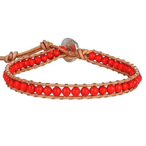 KELITCH Pulseras Envolventes De Perlas Rojas Y Turquesas Pulseras Ajustables De Cuero Natural Pulseras De Cuentas De Cristal