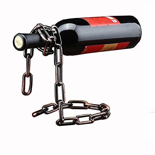TBWHL Novelty Magic Wine Bottle Holder Floating Steel Link Chain Wine Bottle Rack/Holder - Holds Bottles in The Air(Bronze)