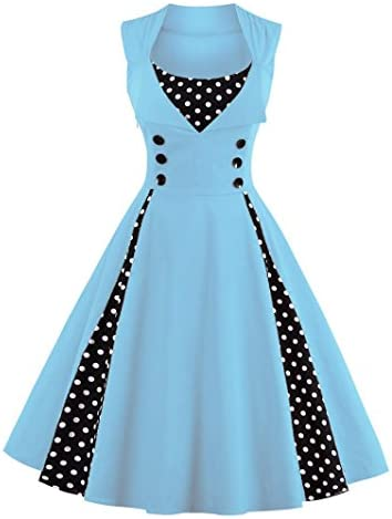 LunaJany Women s Rockabilly Vintage Polka Dot Fit and Flare Swing Cocktail Dress Large Light product image