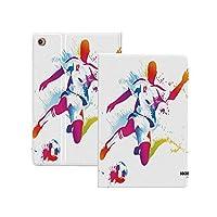 iPad Pro 12.9 ケース 2020 十代の部屋の装飾、サッカー選手キックボール水彩スタイルスプレー選手権画像、多色 十代の部屋の装飾 オートスリープ/ウェイク対応 [鑑賞/タイピングスタンドモード][ゴム製カバー付き柔軟性抜群TPU背面] リバウンドスリムスマートケース 多色