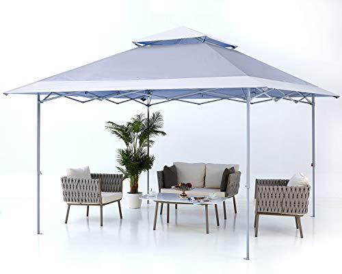 ABCCANOPY 3.6x3.6m Pop up Gazebo Canopy Tent Instant Shelter 169 sq.ft Outdoor Sun Shade,Bonus Wheeled Carry Bag+Weight Bags+Ropes&Stakes,Gray