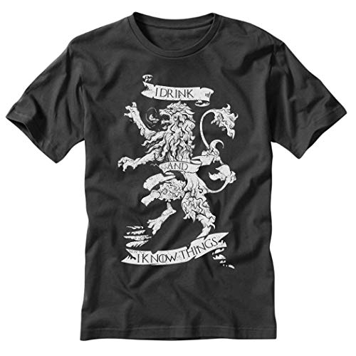 Game of Thrones Shirt I Drink and I Know Things Crest Black T-Shirt (XX-Large)