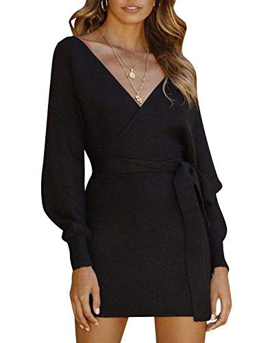 Melegant Damen Herbst Strickkleid Elegant Bodycon V-Ausschnitt Rückenausschnitt Langarm Kleid Winter mit Gürtel, Schwarz, 40