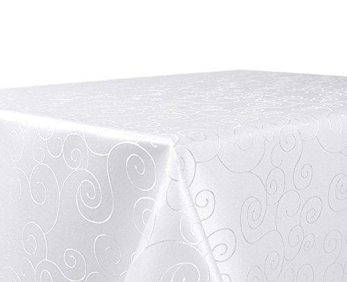 BEAUTEX Tischdecke Damast Ornamente - Bügelfreies Tischtuch - Fleckabweisende, Pflegeleichte Tischwäsche - Tafeltuch, Eckig 130x220 cm, Weiss