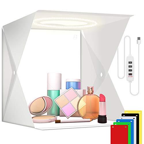 Photo Lightbox Kit da studio fotografico Illuminazione Softbox portatile Mini treppiede Tenda pieghevole Cubo da tavolo 72 LED per cibo Gioielli Scatto di foto di torte 6 Sfondo (21x21cm)