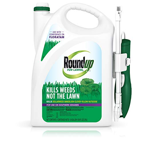 Roundup for Lawns4Ready to Use - for Use on Southern Grasses, for Use on Bluegrass, Fescues, and Perennial Ryegrass, Kills Over 90 Weed Types Including Dandelion, Clover, and Nutsedge, 1 gal.