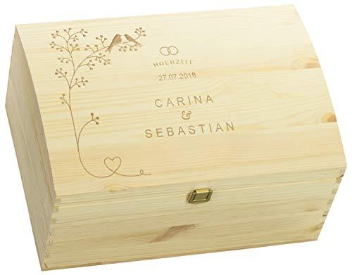 LAUBLUST Holztruhe zur Hochzeit - Vogel-Pärchen - Geschenkkiste Personalisiert mit Gravur - 35x25x19cm, Natur, FSC®
