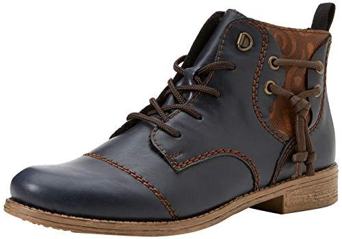 Rieker Damen 77441 Kurzschaft Stiefel, Blau (Navy/Chestnut 14), 38 EU